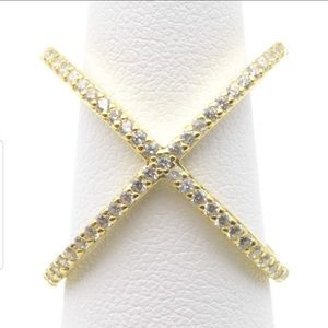 Jewelry - Sterling Silver Pave X Ring in Gold Color